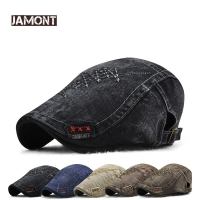 JAMONT 2018 Brand Fashion Visor Cap Men Hat Beret Spring Autumn Gorras Twill Berets Hat snapback Bone Male Flat Hats Casquette
