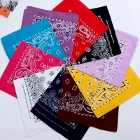 FOXMOTHER  New Hip Hop 100% Cotton 55cm*55cm Black Red Paisley Printed Bandanas For Women/Men/Boys/Girls