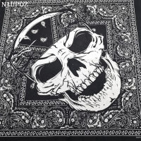 New Design Fashion Hip Hop 100% Cotton Skull Bandana Square Scarf Black Paisley Bicycle Headband For Women/Men/Boys/Girls