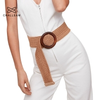 Round Wooden Buckle Dress Belt For Women Casual Female Braided Wide Strap Female Designer Woven Girls Elastic PP Straw Belts 111