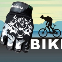 Men Fingerless Gloves Antiskid Cycling Bike Gym Fitness Sports Breathable Print Wolf Head Gloves