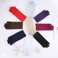 Cheap Mens Solid White Performance Gloves Short Waitor Gloves White Black Red Gray Beige Men Manner Ceremonial Gloves For Male