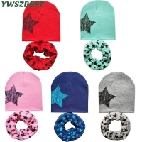 Autumn Winter Children Beanies Cap Scarf Cotton Baby Hat Star Print Boys Girls Child Toddler Skullies Cap Crochet Kids Hat Scarf