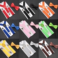 Kids Suspenders with Bowtie Fashion Children Bow Tie Set Boys Braces Girls Adjustable Suspenders Baby Wedding Ties Accessories