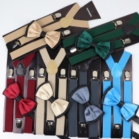 Solid Color Man's Belt Bowtie Set Men Women Suspenders Polyester Y-Back Braces Two Colors Bow Tie Adjustable Elastic