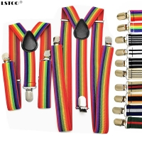 New Men Women Boys Girls Suspenders Red White Rainbow Colorful Striped Suspender Suspensorio Adult Kids Y-back Braces