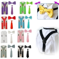 2018 new Fashion Boys Girls kids Adjustable Elastic Y-Back Braces Baby Suspenders Set Bow Tie butterfly NeckTie Wedding HHtr0001