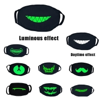 Black Thick Fluorescent Green Luminous Mask Personality Funny Halloween Cold Breathable Cotton Luminous Masks