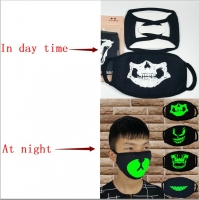 2018 Newly Unisex Fashion Women Men Masks Fluorecent Mask14 Style Mask Cartoon Pattern Print Cotton Black Night glowing Mask