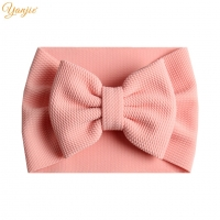2020 New Arrival Turban Fashion 5'' Hair Bows Headband For Kids Headwrap Textured Fabric Elastic DIY Girls Hair Accessories