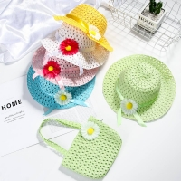 Summer Baby Sun Hat Girls Kids Straw Hat Cap Summer Kids Beach Hat  Breathable Flower Tote Set Hat and Bag for Baby Girl