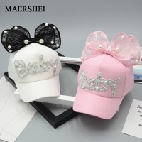 MAERSHEI Cute Big Bow Girls Snapback Baseball Cap children Mesh cap Spring Summer Adjustable Snapback Casquette Kids Baby pearl