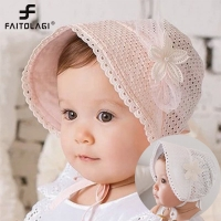 Summer Baby Sun Hat Lace Flower Princess Girls Cap Solid Color Hollow Kids Hat Retro Lace Up Palace Beanie