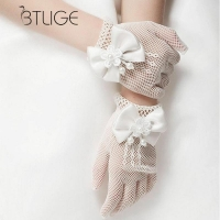 BTLIGE Kids Cream Lace Fishnet Gloves Communion Party Flower Girl Bride Gloves Party Ceremony Accessories