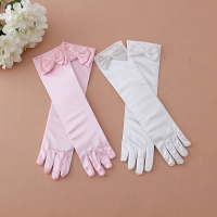 New Arrival Female Child Flower Girl Child Formal Clothes Princess Clothes Costume Accessories White Lace Bow Gloves