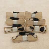 Fashion New Style Mustache Geometry Children Wooden Bowtie Baby Kid Classical Pet Bamboo Wood Butterfly Bow ties