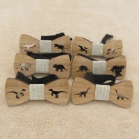 Children Kids Bow Tie For Boys Accessories Cartoon Bowtie Wooden Dinosaure Bow Tie for Boys Neck Wear Bowknot Christmas Bow Ties
