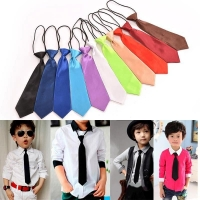 11 Colors Boy toddle Tie Kids Baby School Boy Wedding Necktie Neck Tie Elastic Solid Color Satin wholesale