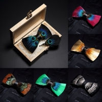 JEMYGINS Original Italy New Design Bowtie Natural Brid Feather Exquisite Hand Made Men Bow Tie Brooch Pin Wooden Gift Box Set