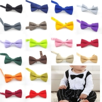 Baby Children Lovely Classic Solid Color boy and girl Butterfly Kont Cute Bowtie Hair Accessories Coordinate Banquet Red Yellow