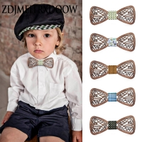 New design Cute Kids Boys Wood Bow Tie Children Butterfly Type Floral Bow ties Girl Boys Wooden Bow ties