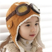 Winter Warm Baby Toddler Boys Girls Kids Pilot Aviator Hats Unisex Adjustable Solid Color Cap Hat Beanie Brown Black
