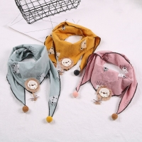 Winter Autumn Kid Cotton Scarf Baby Girl Cartoon Triangle Scarves Cute Print Bib Boy Shawl Neckerchief Lion Rabbit Bow Collar
