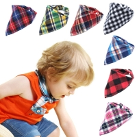 Baby Bibs Bandana Plaid Cotton Snap Burp Newborn Infant Triangle Scarf Boy Collar Infant Newborn Neck Towel Neckerchief