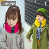 VISROVER Girls Boys Knitted Lic Scarf Baby Kids Snood Ring Infinity Tassel Scarfs Loop Neck Circle Warm Scarves Neckerchief