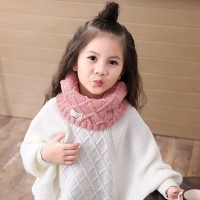Hot Cute Cotton Winter Baby Neck Ring Scarf LICs Children's Girls Boys Knitted Wool O-Scarves for Kids Solid Color Warm Snood