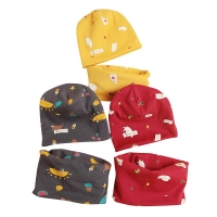 new cartoon cotton print baby scarf cap set boys girls neck wear collar beanie suit children winter wear scarves accessorie