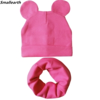 New Baby Hat with Cute Ears Cotton Hat Scarf Set Baby Hats for Girl Boy Child Cap Scarf Collars Autumn Winter Children Warm Cap