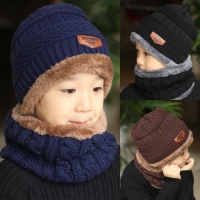 Children  Boys Winter Knitted Beanie Hat and Scarf Set Toddler Kids Warm Fleece Mask Balaclava Cap