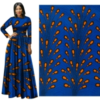 Me-dusa 2019 Latest blue Wheat African Print Wax Fabric 100% cotton Hollandais Wax DIY Dress Suit cloth 6yards/pcs High quility