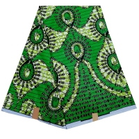2019 New Fashion Green African Print Fabric pagne super wax hollandais African Wax Fabric