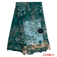 African Lace Fabric 2019 High Quaility Nigerian Laces Fabrics French Embroidered Tulle Lace Fabric for Women KS2530B-4