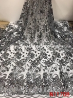 2019 Fashion African Lace Fabric High Quality Nigerian French Tulle Lace Fabric with Beads Sequins 5yards for Dresses KSNI1708