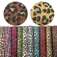 10pcs/set 20*34cm Leopard Glitter  Synthetic Leather Fabric Set For DIY Handbag HairBow Home Events,1Yc7307
