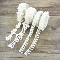 1 Yard Fiber Flower Lace Trim Pearl Embroidery Sewing Fabric Ribbon DIY Garment Accessories for Gift Wrapping,1Yc2452