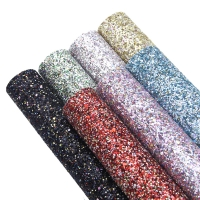 20*34cm 7Pcs Solid Color Chunky Glitter Synthetic Leather Fabric ,DIY Handmade Materials For Making Crafts,1Yc7298