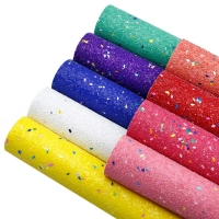 9 Pcs 20*34cm Solid Color Chunky Glitter Sequins Synthetic Leather Set,DIY Handmade Materials For Making Crafts,1Yc7350