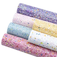 6pieces/set 20*34cm Chunky Glitter Glow In The Dark Sequins Synthetic Leather Set  Fabric DIY Handmade Materials,1Yc7398