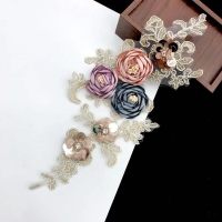 Computer gold thread embroidery colored three-dimensional handmade flowers sticky beads flowers DIY women's dress accessories