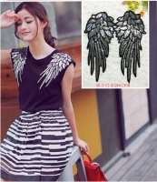 Fashion new silver sequins wings patch clothing accessories patch beads sequins patch