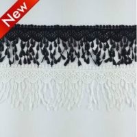 1Yard Water Soluble embroidery lace tassel fabric black white DIY materials clothes Lace trim