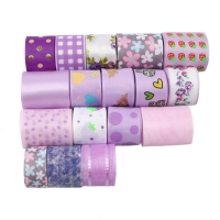 17 rolls/Set Mixed Size Dot Fruit Grid Printed Grosgrain Satin Ribbon Fabric For Gift Wrapping Decoration 1 yard/Roll,1Yc6701