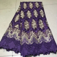 Purple French Lace Fabric for Party Dress 2019 Latest Design Cotton African Lace Fabrics Nigerian Swiss Voile Lace 5 Yards