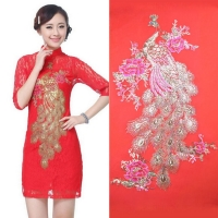 Factory Direct Sequins peacock embroidery cloth sticker screen yarn embroidery bridal dress into clothing accessories no glue