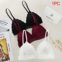Women Bralette French Style Lace Bra Girls Triangle Cup Lingerie Deep V Wireless Underwear Soft Thin Seamless Bra