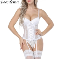 Beonlema Women Sexy Underwear Corset Erotic Korse Transparent Lace Mesh Corset Top Lingerie Slim Waist Bustier Push Up Corselet
